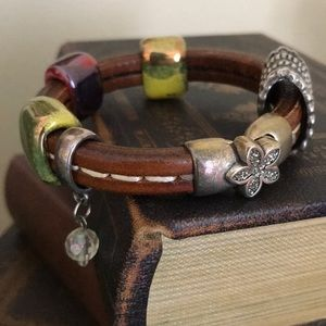 Leather artisan bracelet